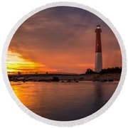 Barnegat Sunset Light Round Beach Towel by Mihai Andritoiu