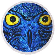 Barney Black Light View Round Beach Towel by Lisa Brandel