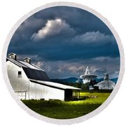 Barns And Radio Telescopes Round Beach Towel