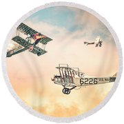 Barnstormers In The Golden Age Of Flight - Replica Fokker D Vll - Spad 7 - Curtiss Jenny Jn-4h Round Beach Towel