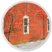 Round Beach Towel featuring the photograph Barnwall In Winter by Rodney Lee Williams