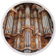 Baroque Grand Organ In Oude Kerk In Amsterdam Round Beach Towel