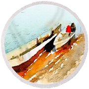Barques Sur Le Chari Round Beach Towel