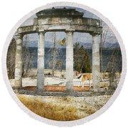 Round Beach Towel featuring the digital art Barren Shoreline by Liane Wright