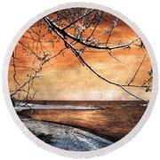 Barrier Beach - Old Woman Creek - Sunset Round Beach Towel by Shawna Rowe