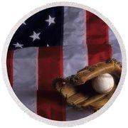Baseball And American Flag Round Beach Towel
