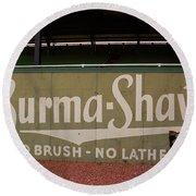 Baseball Field Burma Shave Sign Round Beach Towel