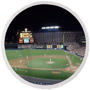 Baseball Game Camden Yards Baltimore Md Round Beach Towel
