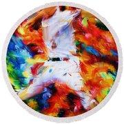 Baseball  I Round Beach Towel by Lourry Legarde