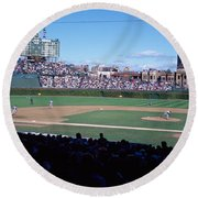Baseball Match In Progress, Wrigley Round Beach Towel by Panoramic Images