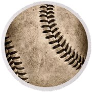 Baseball Old And Worn Round Beach Towel
