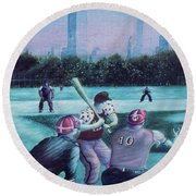 New York Central Park Baseball - Watercolor Art Round Beach Towel