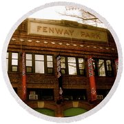 Baseballs Classic  V Bostons Fenway Park Round Beach Towel by Iconic Images Art Gallery David Pucciarelli