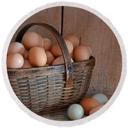 Basket Full Of Eggs Round Beach Towel by Mary Carol Story