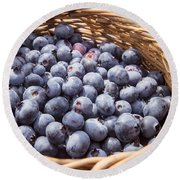 Basket Of Fresh Picked Blueberries Round Beach Towel by Edward Fielding