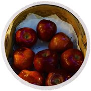 Basket Of Red Apples Round Beach Towel