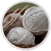 Basket Of Yarn Round Beach Towel by Wilma  Birdwell