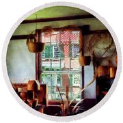Round Beach Towel featuring the photograph Basket Shop by Susan Savad