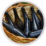 Basket With Bottles Round Beach Towel