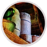 Round Beach Towel featuring the photograph Baskets And Barrels In Attic by Susan Savad