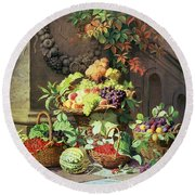Baskets Of Summer Fruits Round Beach Towel by William Hammer