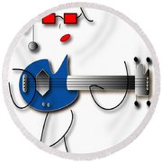 Bass Guitar Girl Round Beach Towel