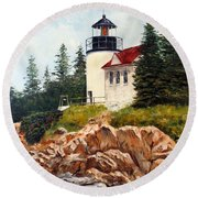 Bass Harbor Head Light Round Beach Towel