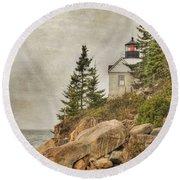Bass Harbor Head Lighthouse. Acadia National Park Round Beach Towel