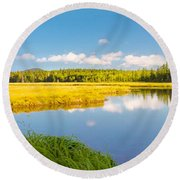 Bass Harbor Marsh Panorama Acadia National Park Photograph Round Beach Towel by Keith Webber Jr