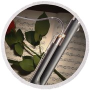 Bassoon Music Instrument Photograph In Color 3406.02 Round Beach Towel