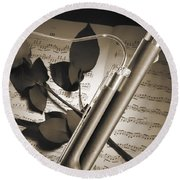 Bassoon Music Instrument Photograph In Sepia 3406.01 Round Beach Towel