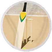 Bat Ball And Stumps Round Beach Towel by Jorgo Photography - Wall Art Gallery