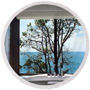 Bathroom With A View Round Beach Towel