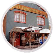 Round Beach Towel featuring the photograph Battle Mountain Trading Post by Fiona Kennard