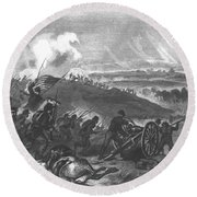 Battle Of Gettysburg - Final Charge Of The Union Forces At Cemetery Hill, 1863 Pub. 1865 Engraving Round Beach Towel