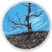 Round Beach Towel featuring the painting Battle Scars by Meaghan Troup