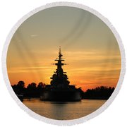 Round Beach Towel featuring the photograph Battleship At Sunset by Cynthia Guinn