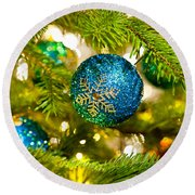 Bauble In A Christmas Tree  Round Beach Towel