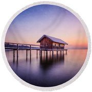 Bavarian Winter Wonderland Round Beach Towel