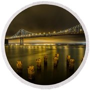 Bay Bridge And Clouds At Night Round Beach Towel
