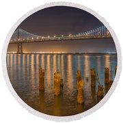 San Francisco Bay Bridge Light Show Round Beach Towel by James Hammond