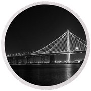 Bay Bridge Moon Round Beach Towel