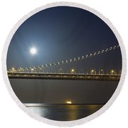 Bay Bridge Supermoon Round Beach Towel
