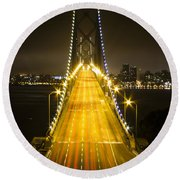 Bay Bridge Traffic Round Beach Towel