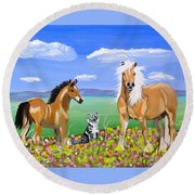 Bay Colt Golden Palomino And Pal Round Beach Towel