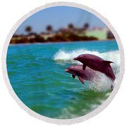 Bay Dolphins Round Beach Towel