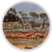 Round Beach Towel featuring the photograph Bay Of Fires 2 by Wallaroo Images