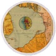 Map Of Bay Of Manila 1899 Round Beach Towel