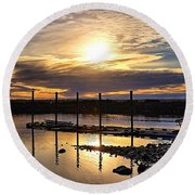 Bay Sunset Round Beach Towel