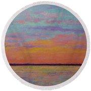 Bay Sunset Round Beach Towel